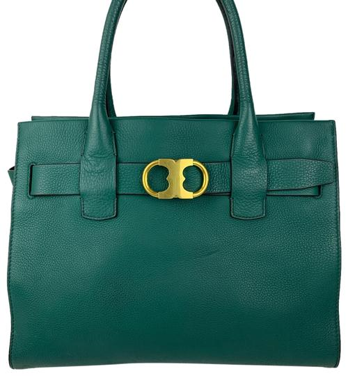 Preload https://img-static.tradesy.com/item/25869402/tory-burch-gemini-link-new-green-leather-tote-0-1-540-540.jpg