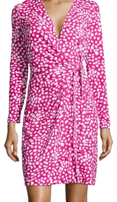 Item - Pink and White Signature Wrap Style Short Work/Office Dress Size 14 (L)