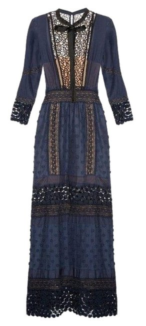 Item - Blue Spring Guipure Lace Long-sleeved Pleated Long Cocktail Dress Size 8 (M)