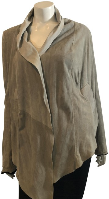 Item - Lt Gray 59619 Brown Leather Shawl Collar Leather Jacket Size 8 (M)