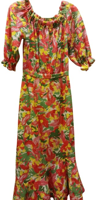 Item - Multiple Perforated Colorful Print Long Casual Maxi Dress Size 0 (XS)