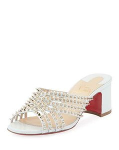 Christian Louboutin Strappy Spiked Studded Mules Snow (Cream White) Sandals