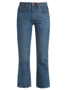 Bliss and Mischief Denim Cotton Cropped Boot Cut Jeans-Medium Wash