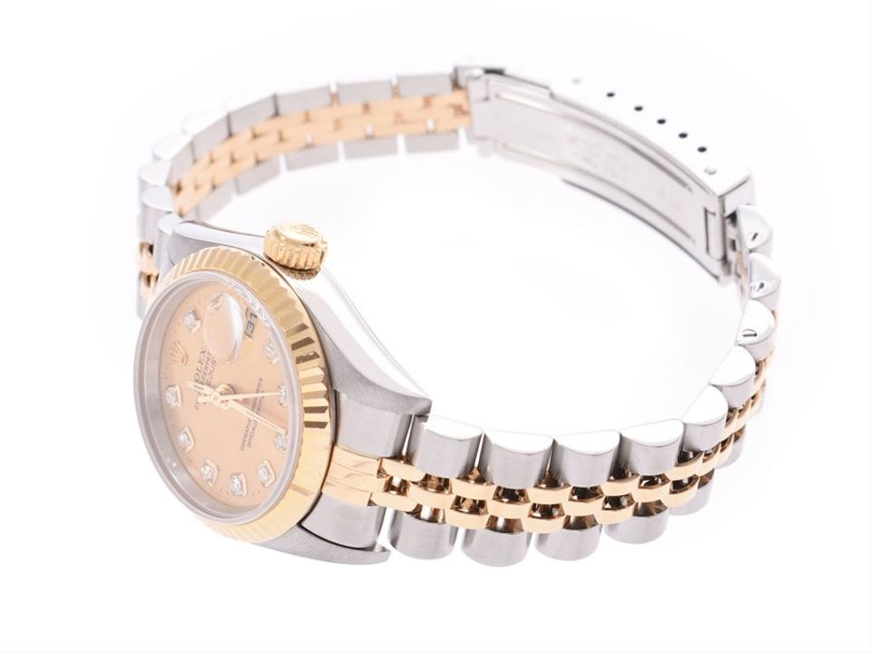 new arrival ad591 421fc Rolex Datejust 10p Diamond Champagne Dial 79173g Number P Women's Yg / Ss  Rolled Gallary Watch