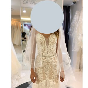 """Ivory/Light Nude New Spring 2019 L'amour By """"noelle"""" La9122 Fit & Flare Never Worn Modern Wedding Dress Size 2 (XS)"""