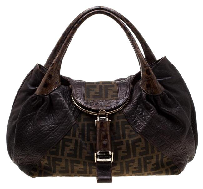 Item - Tobacco Zucca Canvas and Spy Brown Leather Hobo Bag