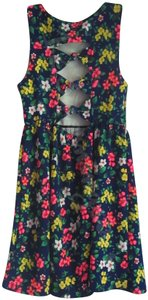 Monteau Los Angeles short dress Multi-Color Navy Open Back Bows On Back Floral Print Gathered Waist Boat Neck on Tradesy