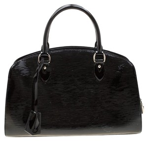 Louis Vuitton Alcantara Patent Leather Leather Satchel in Black