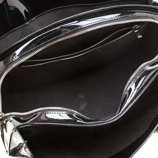 Louis Vuitton Alcantara Patent Leather Leather Satchel in Black Image 4