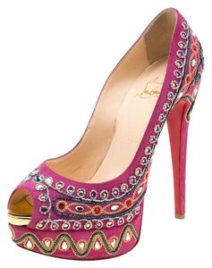Christian Louboutin Embroidered Suede Peep Toe Platform Pink Pumps