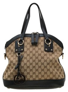 Gucci Leather Fabric Canvas Satchel in Beige