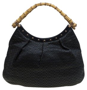 Gucci Leather Canvas Bamboo Hobo Bag