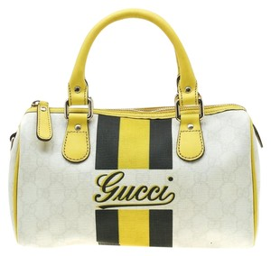 Gucci Canvas Leather Satchel in Yellow