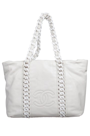 Chanel Leather Satin Tote in White Image 0