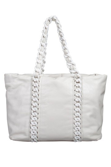 Chanel Leather Satin Tote in White Image 1