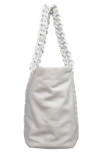 Chanel Leather Satin Tote in White Image 2