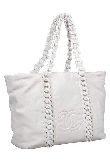 Chanel Leather Satin Tote in White Image 6