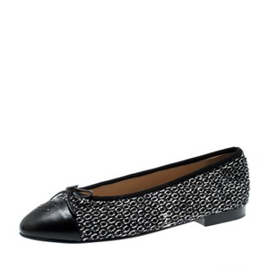 Chanel Monochrome Tweed Leather Black Flats