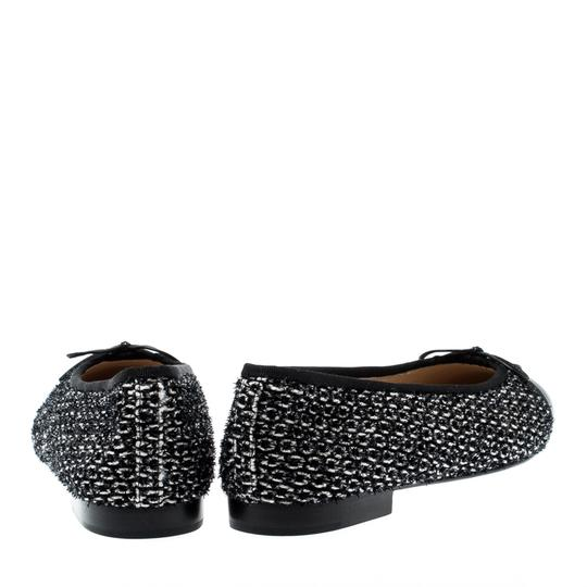 Chanel Monochrome Tweed Leather Black Flats Image 2