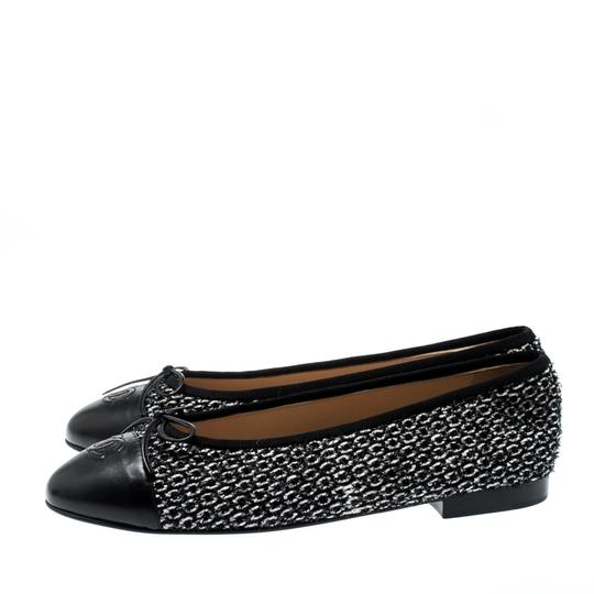 Chanel Monochrome Tweed Leather Black Flats Image 4