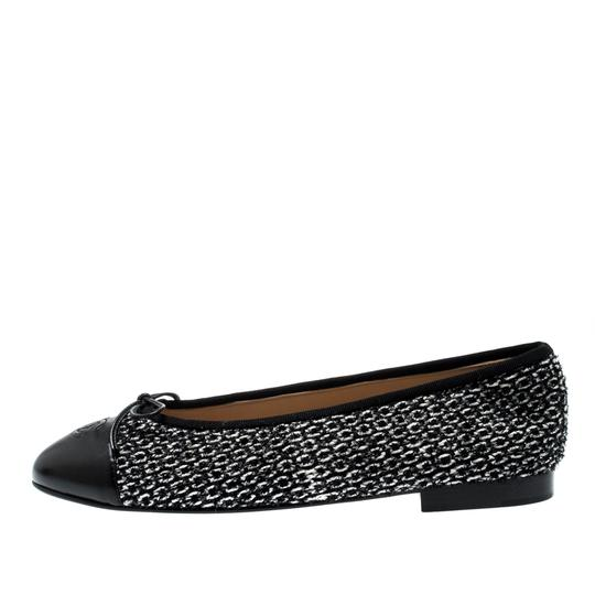 Chanel Monochrome Tweed Leather Black Flats Image 5