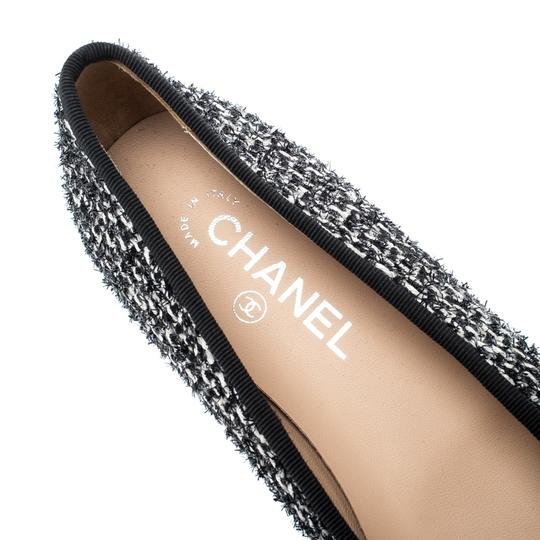 Chanel Monochrome Tweed Leather Black Flats Image 6