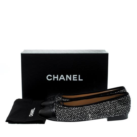 Chanel Monochrome Tweed Leather Black Flats Image 7