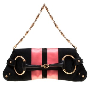 Gucci Canvas Satin Leather Clutch
