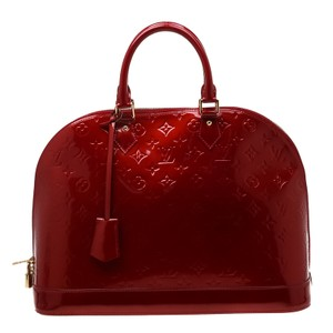 Louis Vuitton Patent Leather Fabric Monogram Satchel in Red