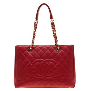 Chanel Leather Fabric Tote in Red