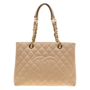 Chanel Leather Satin Tote in Beige