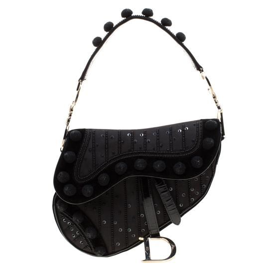 Preload https://img-static.tradesy.com/item/25871401/dior-velvetnylon-and-leather-pom-pom-embellished-saddle-black-velvet-shoulder-bag-0-0-540-540.jpg