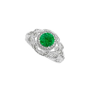Marco B Emerald Cubic Zirconia Filigree Design Evening Ring in 14K White Gold