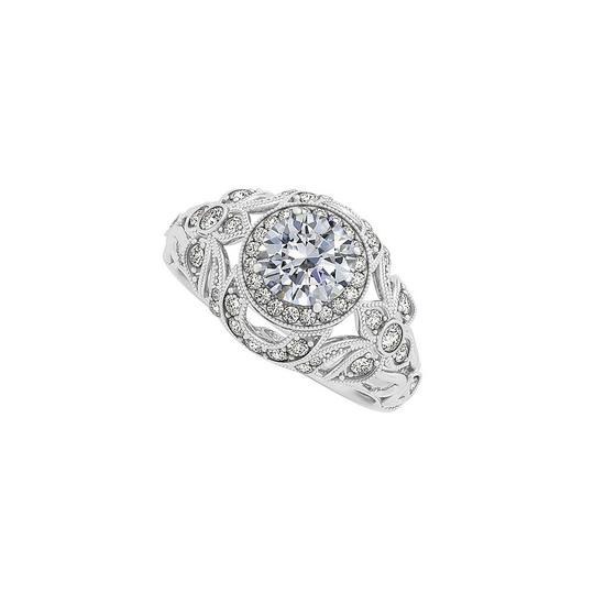 Marco B Pretty Cubic Zirconia Filigree Design Evening Ring in 14K White Gold Image 0