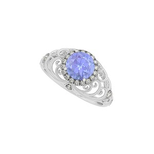 Marco B Tanzanite and CZ Filigree Engagement Ring in 14K Gold