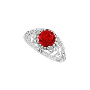 Marco B Round Ruby and CZ Filigree Style Halo Engagement Ring