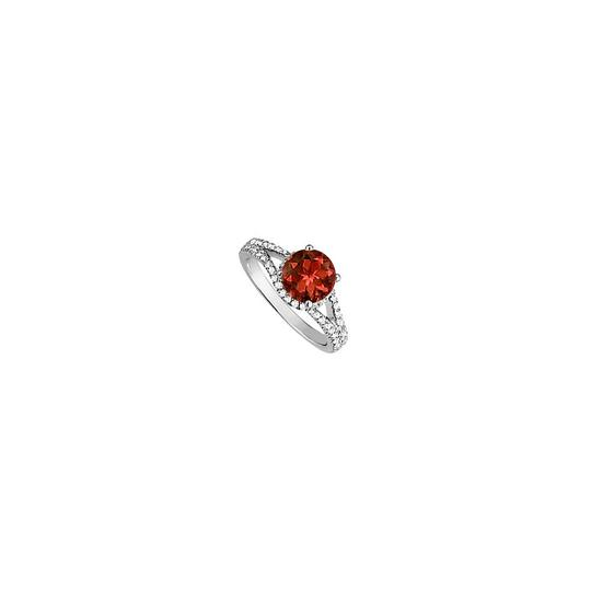 Marco B Garnet and CZ Split Shank Engagement Ring in 14K White Gold Image 0