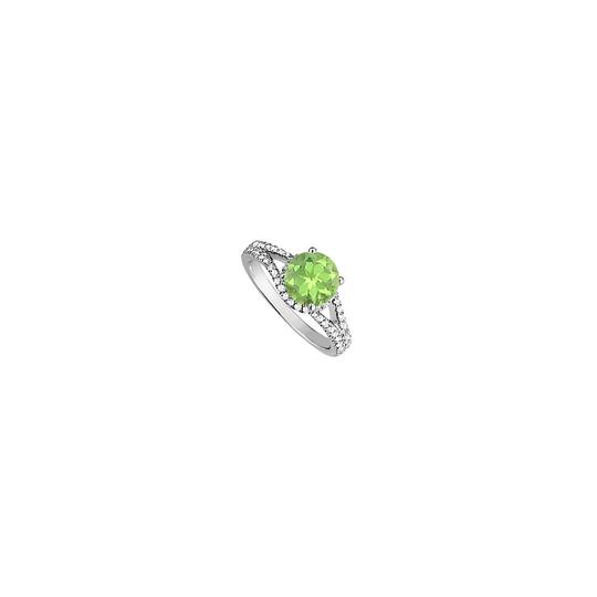 Marco B Peridot and Cubic Zirconia Halo Engagement Ring in Yellow Gold Vermeil Image 0