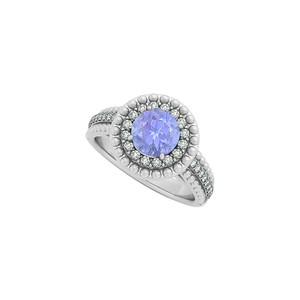 Marco B Tanzanite and CZ Halo Engagement Ring in 14K White Gold with Coolest