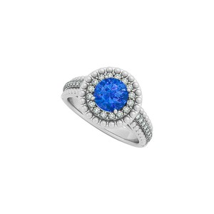 Marco B Sapphire and CZ Halo Engagement Ring in 14K White Gold with Beautiful