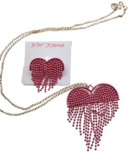 Betsey Johnson Betsey Johnson New Hot Pink Heart Necklace & Brooch