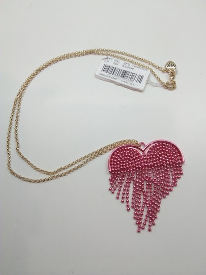 Betsey Johnson Betsey Johnson New Hot Pink Heart Necklace & Brooch Image 1