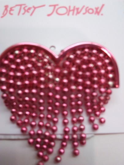 Betsey Johnson Betsey Johnson New Hot Pink Heart Necklace & Brooch Image 4