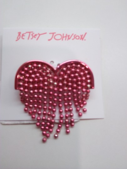 Betsey Johnson Betsey Johnson New Hot Pink Heart Necklace & Brooch Image 5