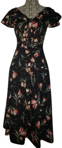 Black Floral Multi Maxi Dress by Rebecca Taylor Open Style # 118929d726. Crossover Cut Out Detail
