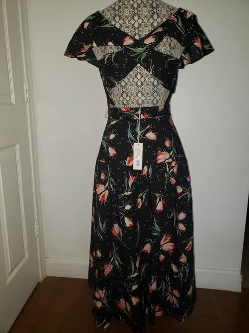 Black Floral Multi Maxi Dress by Rebecca Taylor Open Style # 118929d726. Crossover Cut Out Detail Image 1