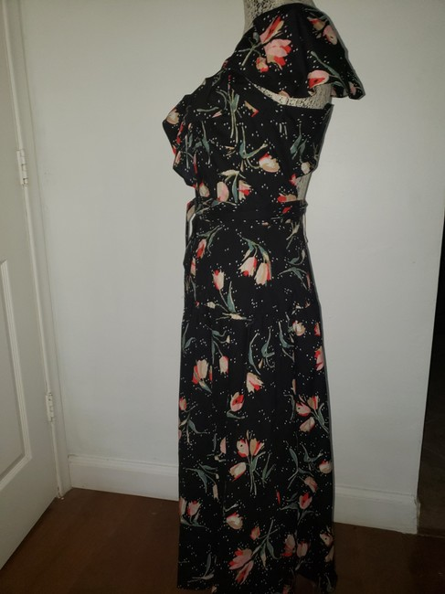 Black Floral Multi Maxi Dress by Rebecca Taylor Open Style # 118929d726. Crossover Cut Out Detail Image 2