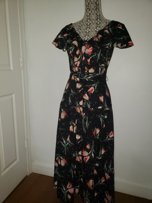Black Floral Multi Maxi Dress by Rebecca Taylor Open Style # 118929d726. Crossover Cut Out Detail Image 3