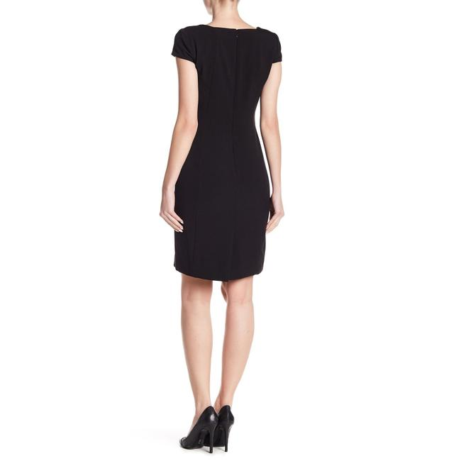 Tahari Crepe Ruched Cap Sleeve Square Neck Dress Image 1