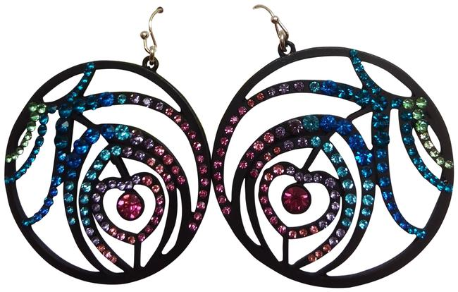 Item - Black New Hot Pink Heart/Hoop Earrings